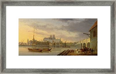 A View Of Westminster Bridge And The Abbey From The South Framed Print by Litz Collection