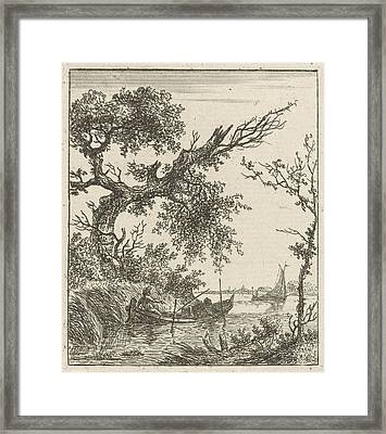 A View On A Large Overhanging Tree And A Rowing Boat Where Framed Print by Artokoloro