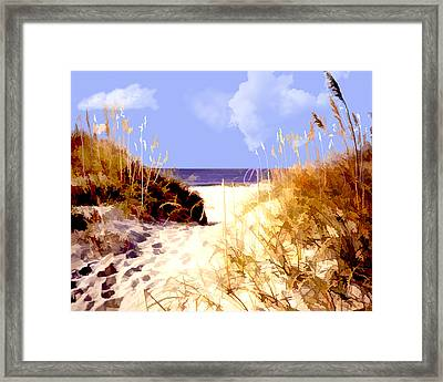 A View Through The Dunes To The Ocean Framed Print by Elaine Plesser