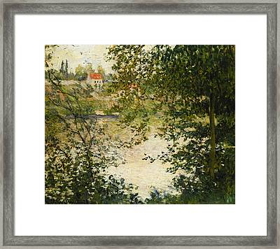 A View Through The Trees Of La Grande Jatte Island Framed Print by Claude Monet
