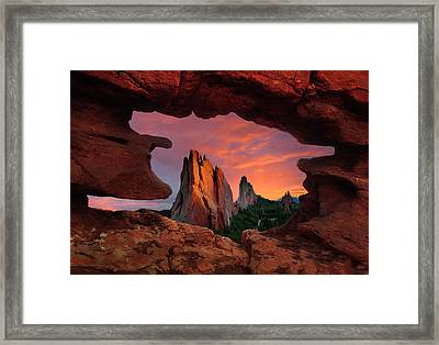 A View Through Window Rock At Siamese Twins Framed Print by John Hoffman