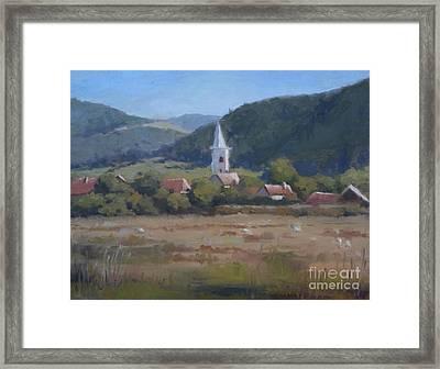 A Village In Erdely Framed Print