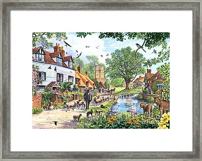 A Village In Spring Framed Print by Steve Crisp