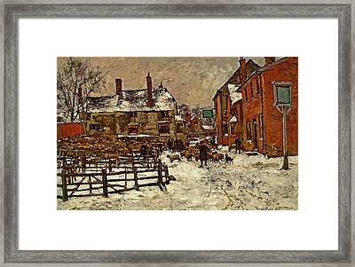 A Village In The Snow Framed Print by Henry King