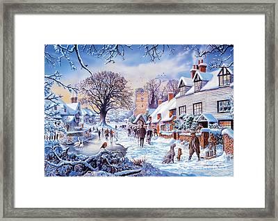 A Village In Winter Framed Print