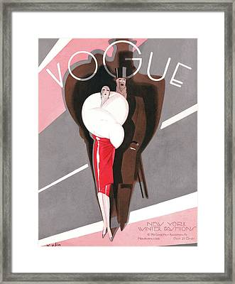 A Vintage Vogue Magazine Cover Of A Couple Framed Print by William Bolin