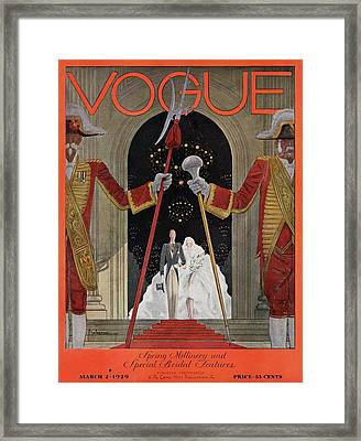A Vintage Vogue Magazine Cover Of A Father Framed Print