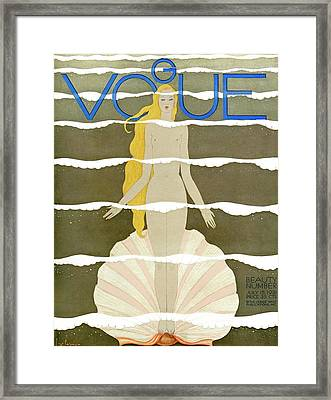 A Vintage Vogue Magazine Cover Of A Naked Woman Framed Print by Georges Lepape