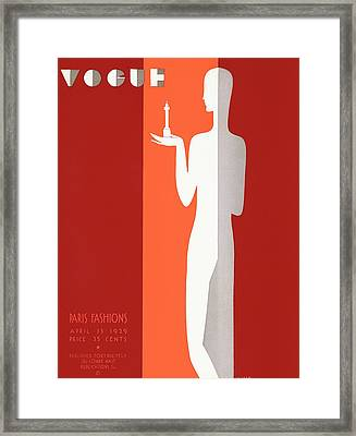 A Vintage Vogue Magazine Cover Of A Person Framed Print