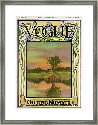 A Vintage Vogue Magazine Cover Of A River Framed Print by Artist Unknown
