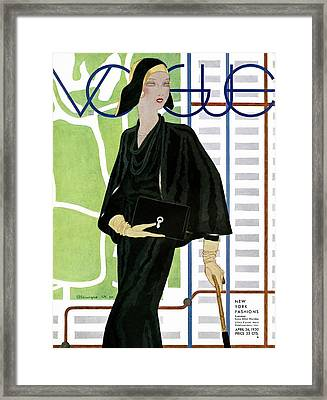 A Vintage Vogue Magazine Cover Of A Wealthy Woman Framed Print by Pierre Mourgue