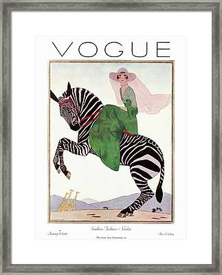 A Vintage Vogue Magazine Cover Of A Woman Framed Print by Andre E.  Marty