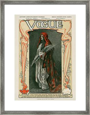 A Vintage Vogue Magazine Cover Of A Woman Framed Print by Meyner