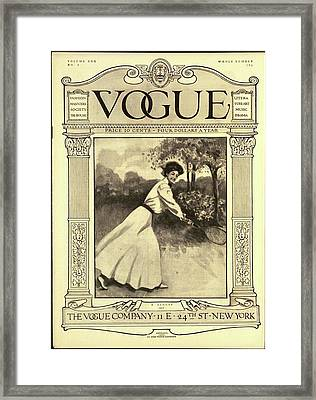 A Vintage Vogue Cover Woman Playing Tennis Framed Print by C F Freeman