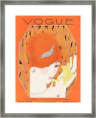 A Vintage Vogue Magazine Cover Of A Woman Eating Framed Print