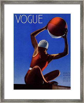 A Vintage Vogue Magazine Cover Of A Woman Framed Print by Edward Steichen