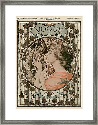 A Vintage Vogue Magazine Cover Of A Woman Framed Print by Hugh Stuart Campbell