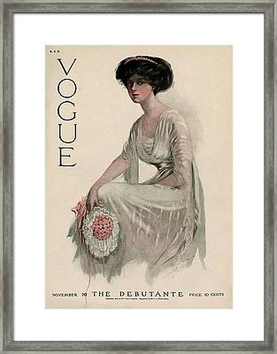 A Vintage Vogue Magazine Cover Of A Woman Framed Print by Jean Parke