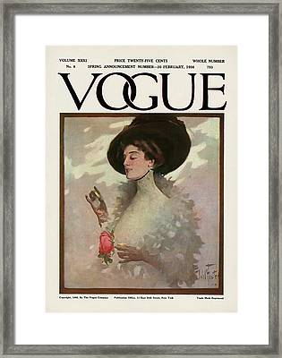 A Vintage Vogue Magazine Cover Of A Woman Framed Print by Will Foster