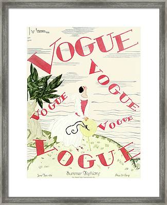 A Vintage Vogue Magazine Cover Of An Angel Framed Print by Georges Lepape