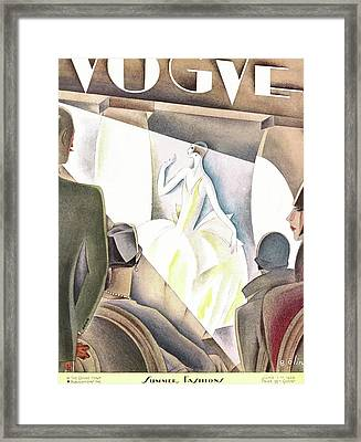A Vintage Vogue Magazine Cover Of An Audience Framed Print