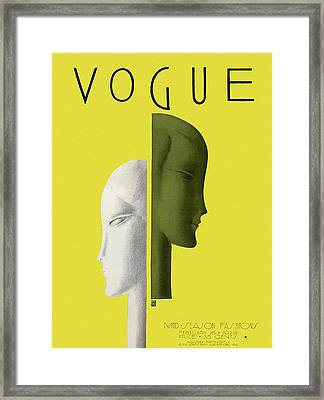 A Vintage Vogue Magazine Cover Of Two Woman Framed Print