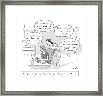 A Visit From The Procrastination Muse -- A Greek Framed Print