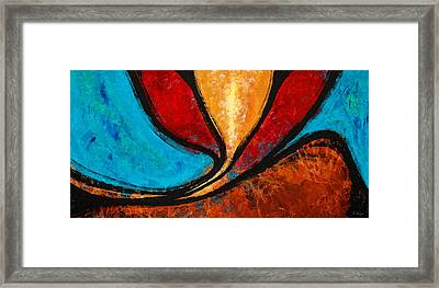 A Visit With Ama - Vibrant Abstract Flower Art By Sharon Cummings Framed Print