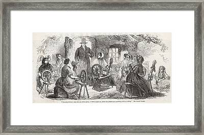 A Visitor Enters An Irish  'cabin' Framed Print by Mary Evans Picture Library