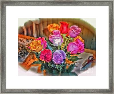 A Vivid Rose Bouquet For You Framed Print by Thomas Woolworth
