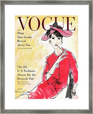 A Vogue Cover Illustration Of Isabella Albonico Framed Print by Rene R. Bouche