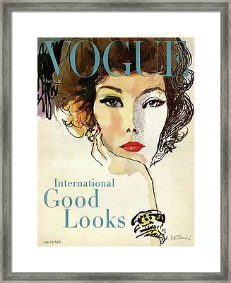 A Vogue Cover Illustration Of Nina De Voe Framed Print by Rene R Bouche