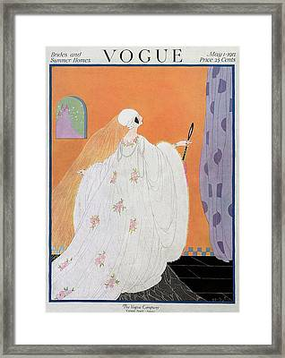 A Vogue Cover Of A Bride Framed Print by Helen Dryden