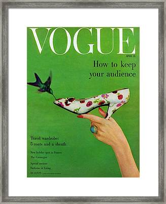 A Vogue Cover Of A Floral Dior High Heel Framed Print by Richard Rutledge