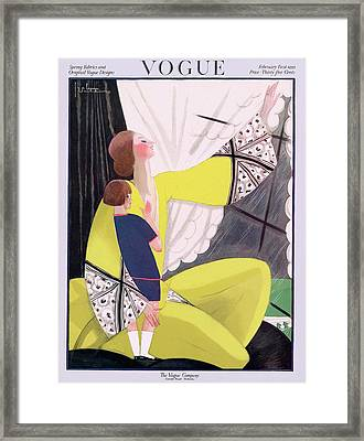 A Vogue Cover Of A Mother And Daughter Framed Print by Georges Lepape