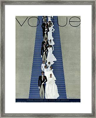 A Vogue Cover Of A Wedding Party Framed Print