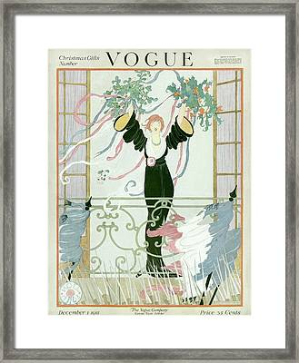 A Vogue Cover Of A Woman Above A Parade Framed Print by Helen Dryden