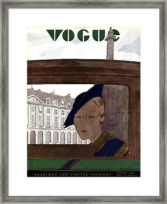 A Vogue Cover Of A Woman In A Car Framed Print by Pierre Mourgue