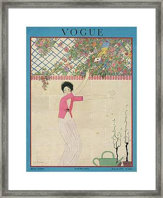 A Vogue Cover Of A Woman Receiving A Letter Framed Print by Georges Lepape
