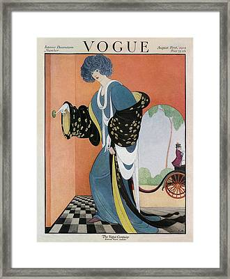 A Vogue Cover Of A Woman Ringing A Doorbell Framed Print