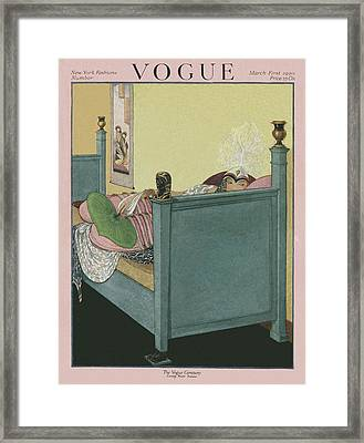 A Vogue Cover Of A Woman Wearing A Headdress Framed Print by George Wolfe Plank