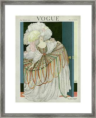 A Vogue Cover Of A Woman Wearing A Hoop Skirt Framed Print
