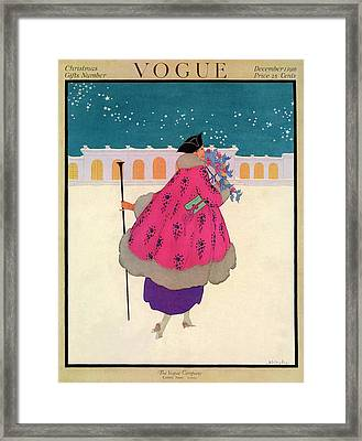 A Vogue Cover Of A Woman Wearing A Pink Coat Framed Print