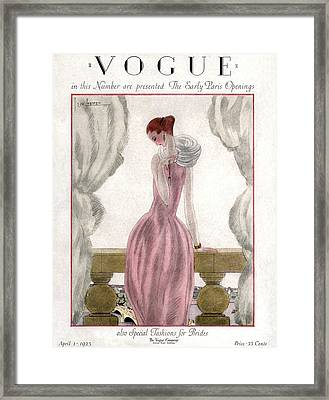 A Vogue Cover Of A Woman Wearing A Pink Dress Framed Print