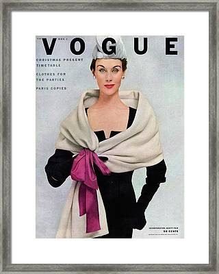 A Vogue Cover Of A Woman Wearing Balenciaga Framed Print by Frances Mclaughlin-Gill