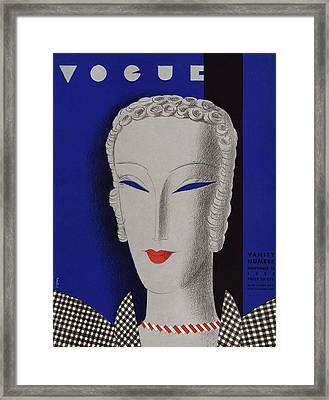 A Vogue Cover Of A Woman Wearing Gingham Framed Print by Eduardo Garcia Benito