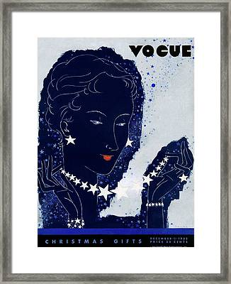 A Vogue Cover Of A Woman Wearing Jewelry Framed Print by Jean Pag?s