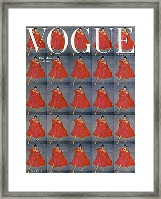 A Vogue Cover Of A Woman Wearing Red Framed Print