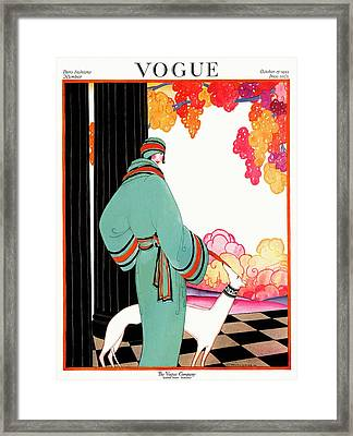 A Vogue Cover Of A Woman With A Dog Framed Print by Helen Dryden