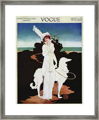 A Vogue Cover Of A Woman With A Wolfhound Framed Print by Mrs. Newell Tilton